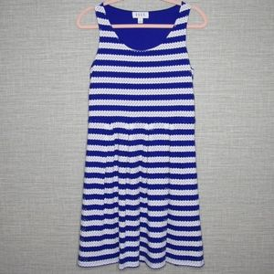 Elle Womens Sz 8 Blue & White Striped Eyelet Dress